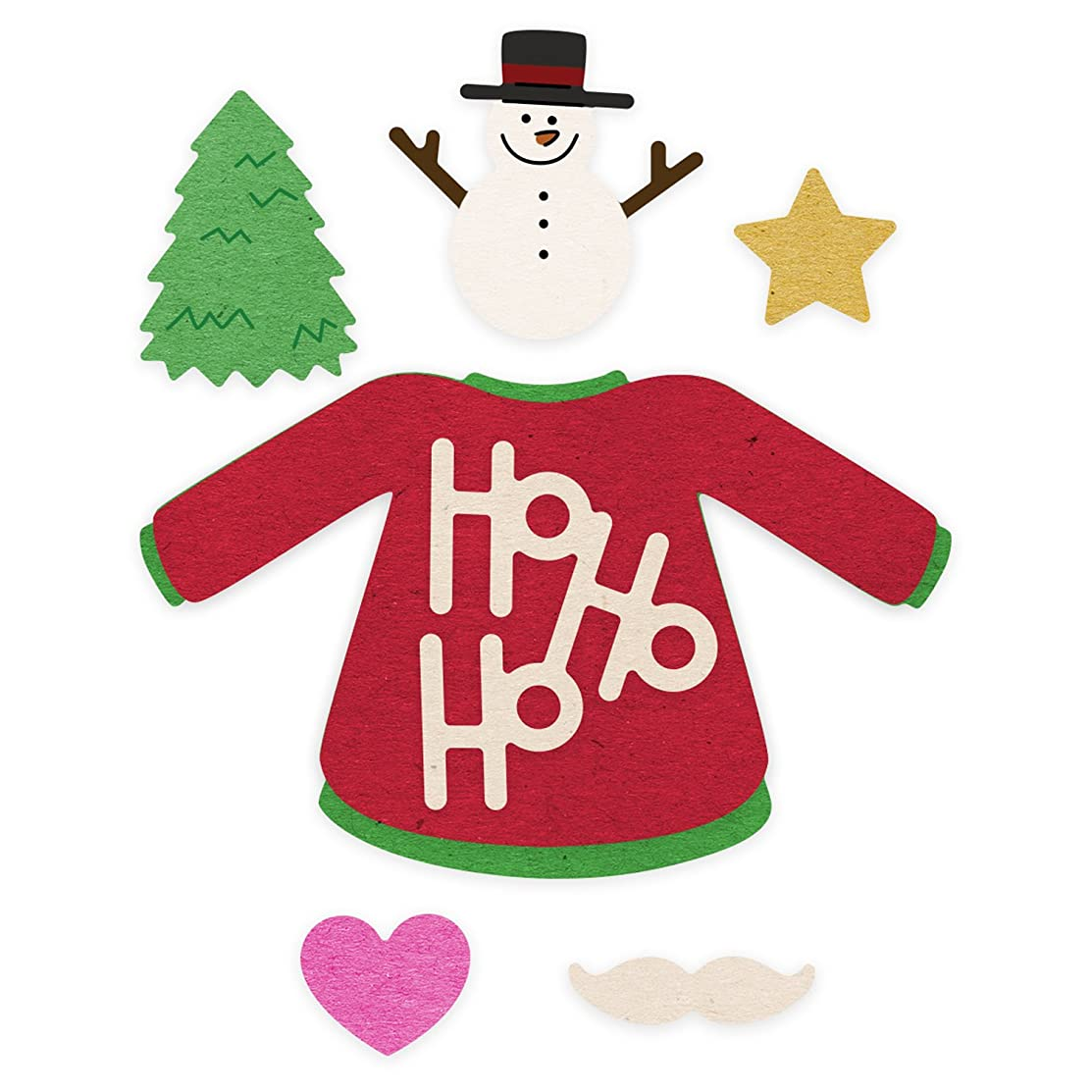 Cheery Lynn Designs Fun with Sweaters Kit Scrapbooking Die Cut Set, 8 Piece