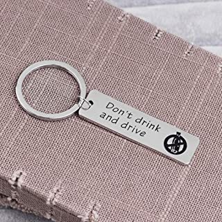 Acamifashion Key Ring Don't Drink and Drive Letter Tag Car Keychain Key Ring Holder Couple Lovers Gift - Silver
