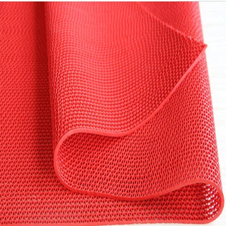 画家方程式外出RBZCCP 家庭用フロアマットプラスチック滑り止めフロアマットダスティング耐久性のあるドアマット (Color : Red, Size : L)