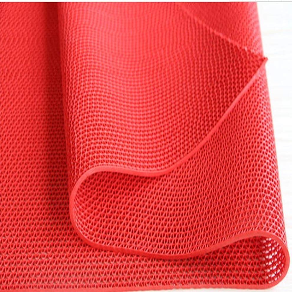 ひも不機嫌国民RBZCCP 家庭用フロアマットプラスチック滑り止めフロアマットダスティング耐久性のあるドアマット (Color : Red, Size : L)