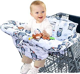 LOLLICUBS 2 in 1 Deluxe Size Shopping Cart and High Chair Cover - Premium-Quality Cushioned Seats with Pockets for Highchairs and Grocery Carts - Adjustable Baby and Toddler Harness - Unisex Owl Print