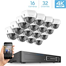 Amcrest 4K 32CH Security Camera System w/ 4K NVR, (16) x 4K IP67 Weatherproof Metal Dome POE IP Cameras (3840x2160), 2.8mm Angle Lens, HDD Not Included, 98ft Nightvision (White)