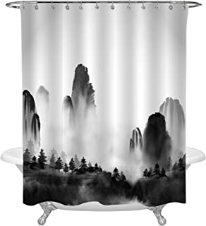 MitoVilla Chinese Ink Painting Decor for Shower Decorations, Black White Landscape Shower Curtain with Wild Forest Trees and High Mountains in Fog, Nature Scene Bathroom Accessories, 72 W x 78 L