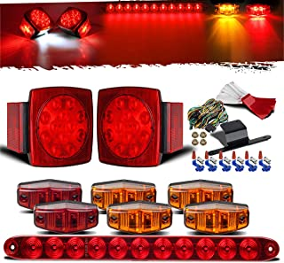 Partsam Submersible Under 80' LED Trailer Light Kit,Square Stop Turn Tail RV Truck Lights w/Wire &Bracket,Red/Amber Side Fender Marker Lamps,3rd Brake ID Light Bar for Camper Truck RV Boat Snowmobile