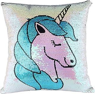 JER 1pc Unicornio de Almohada Cubierta de Lentejuelas mágicas Reversibles Lentejuelas Almohadas Caso de la Sirena de Cubiertas del Amortiguador (Blanco)