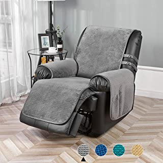 """STONECREST Velvet Reversible Quilted Slipcover for Recliner Chair, Waterproof Washable Furniture Protector Cover for Dogs, Kids(Grey, Recliner 23"""" Prom)"""