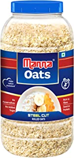 Manna Oats (1kg Jar) - Gluten Free Steel Cut Rolled Oats. High in Fibre & Protein. Helps Maintain Cholesterol. Good for Di...
