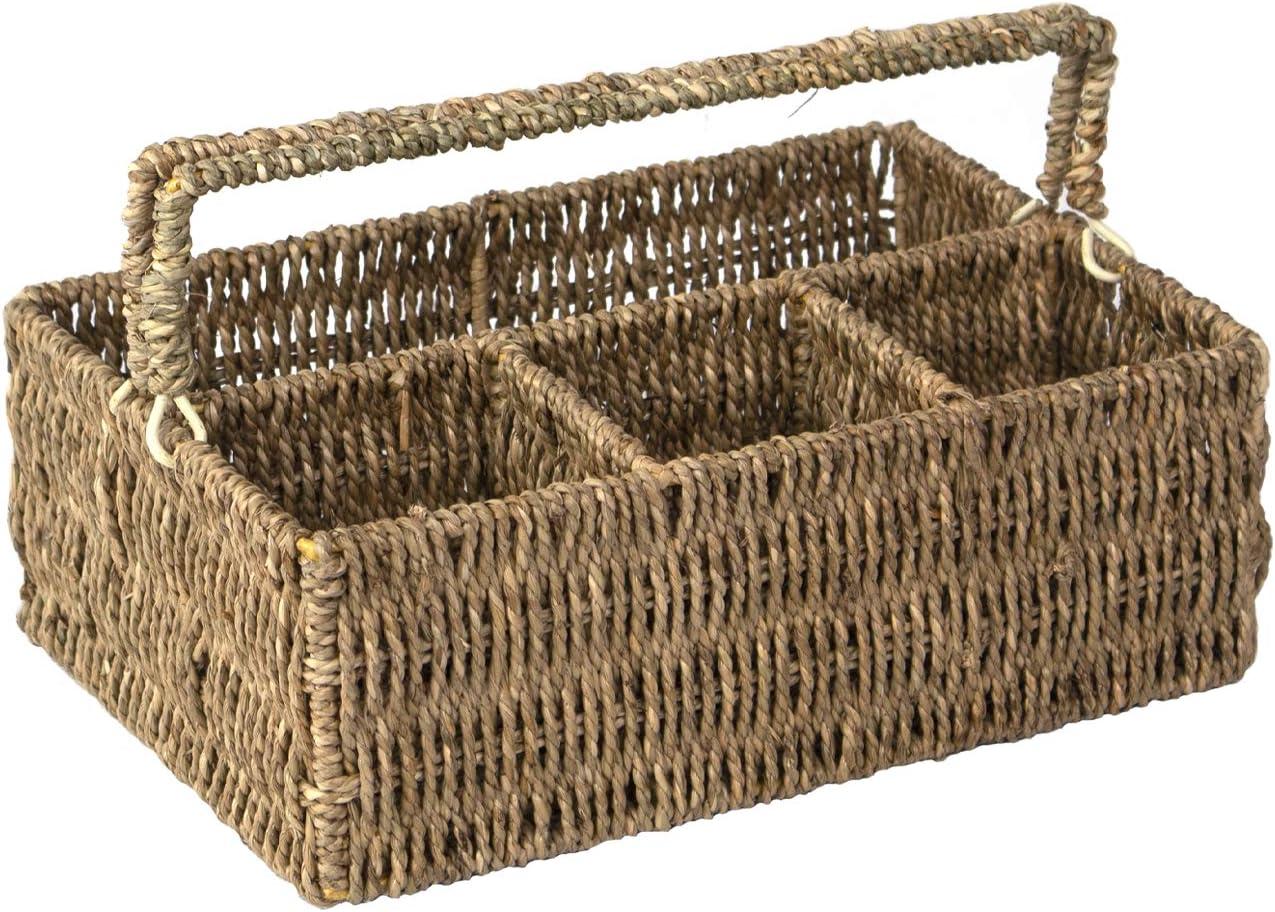 Organizador de condimentos de cocina natural y cubertería para cubiertos,soporte para cubiertos, tenedores,cucharas, cuchillos, servilletas,gran cesta de almacenamiento para suministros de escritorio