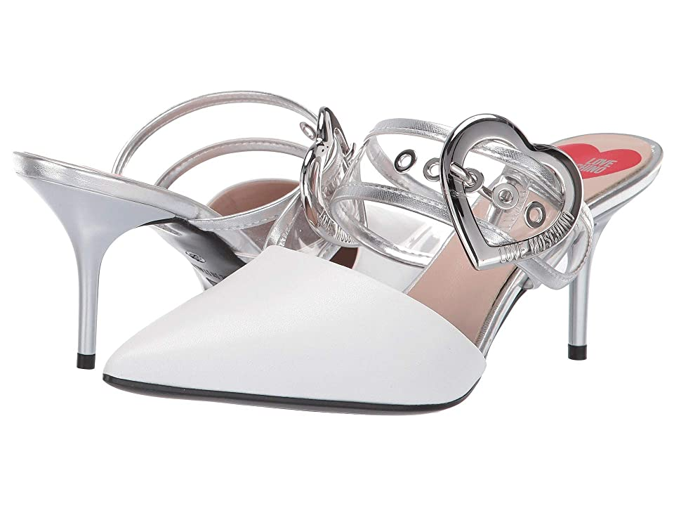 e460892a26e2 LOVE Moschino Mule Heel with Heart Buckle (White) High Heels