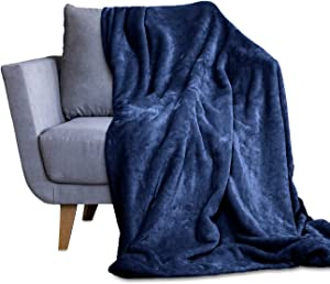 Throw Blanket for Couch & Bed - Decorative Size Fleece Blanket - Soft, Fuzzy, Cozy & Breathable - Plush Microfiber Home Decor (50x60,Navy Blue)