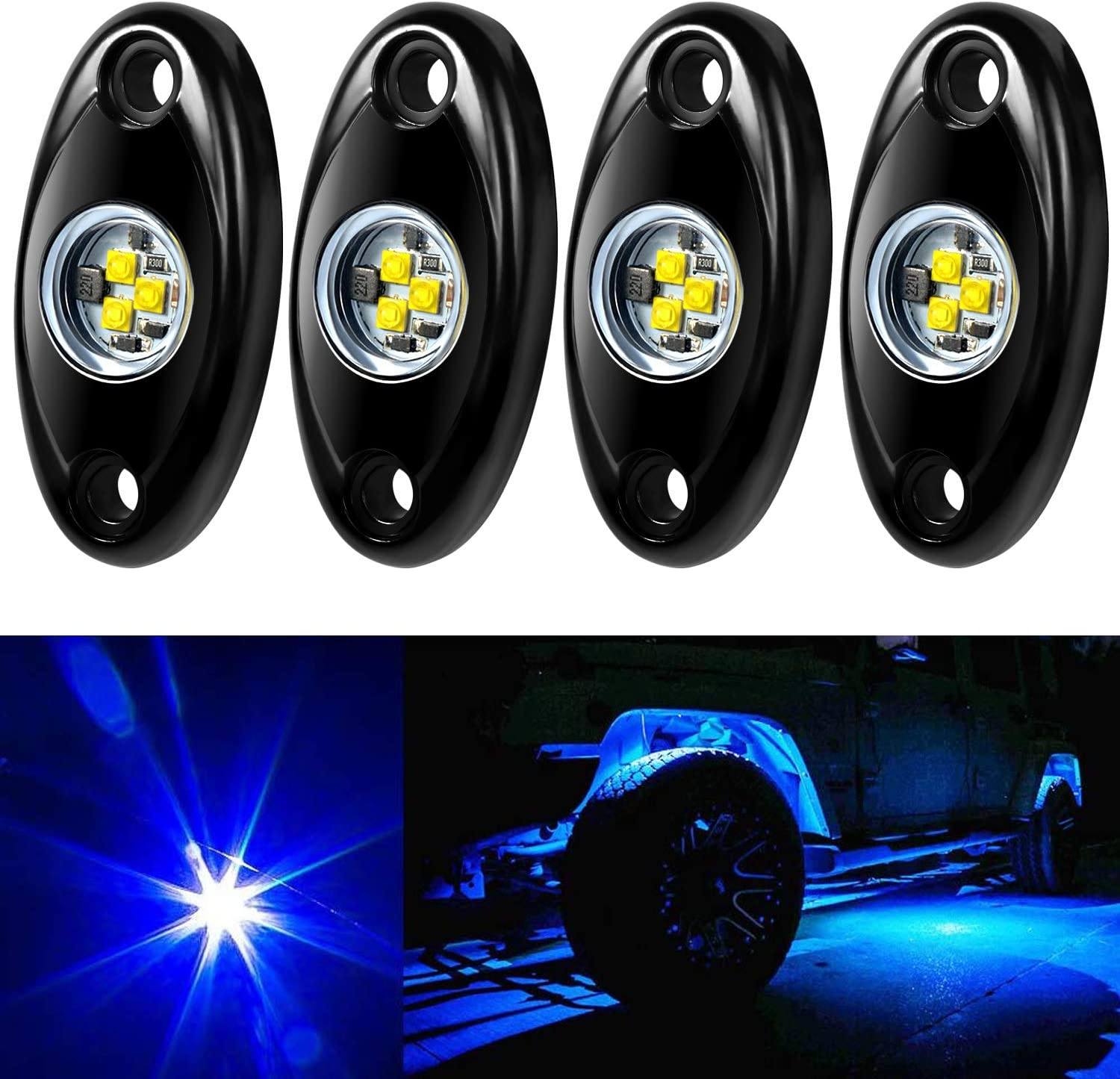 Aukmak 4 Pods LED Rock Light Kit famous SUV Offroad Tr ATV Jeep for Car Max 54% OFF