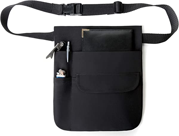 Black Money Pouch Restaurant Apron With Adjustable Belt