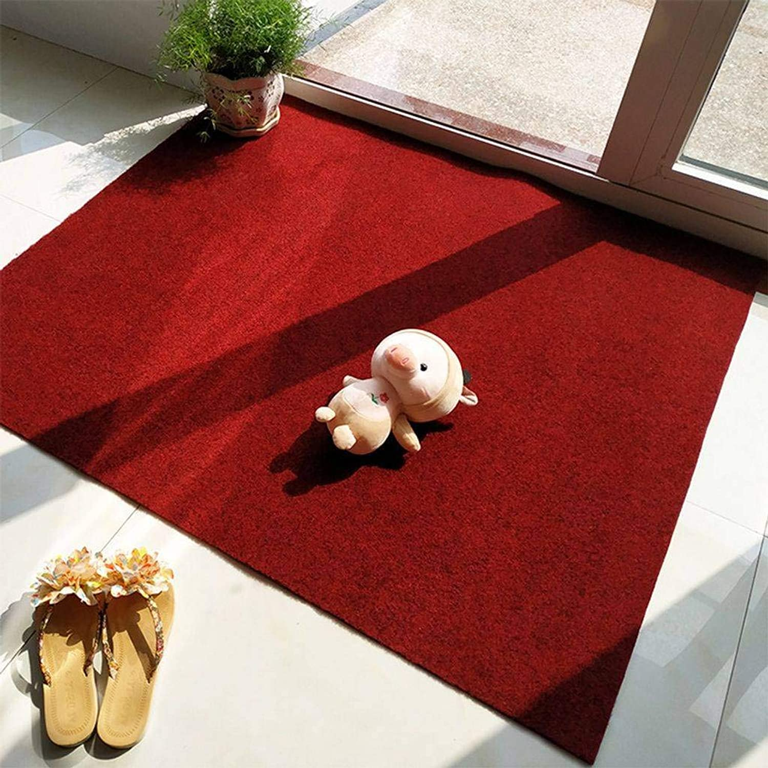 Indoor Outdoor Doormat, Non-Slip TPR Backing Absorbing Mud Cleanable Thickened Dust Pads for Entrances, Stairs, Terraces and Garages-Dark red-80x120Cm(31x47Inch)