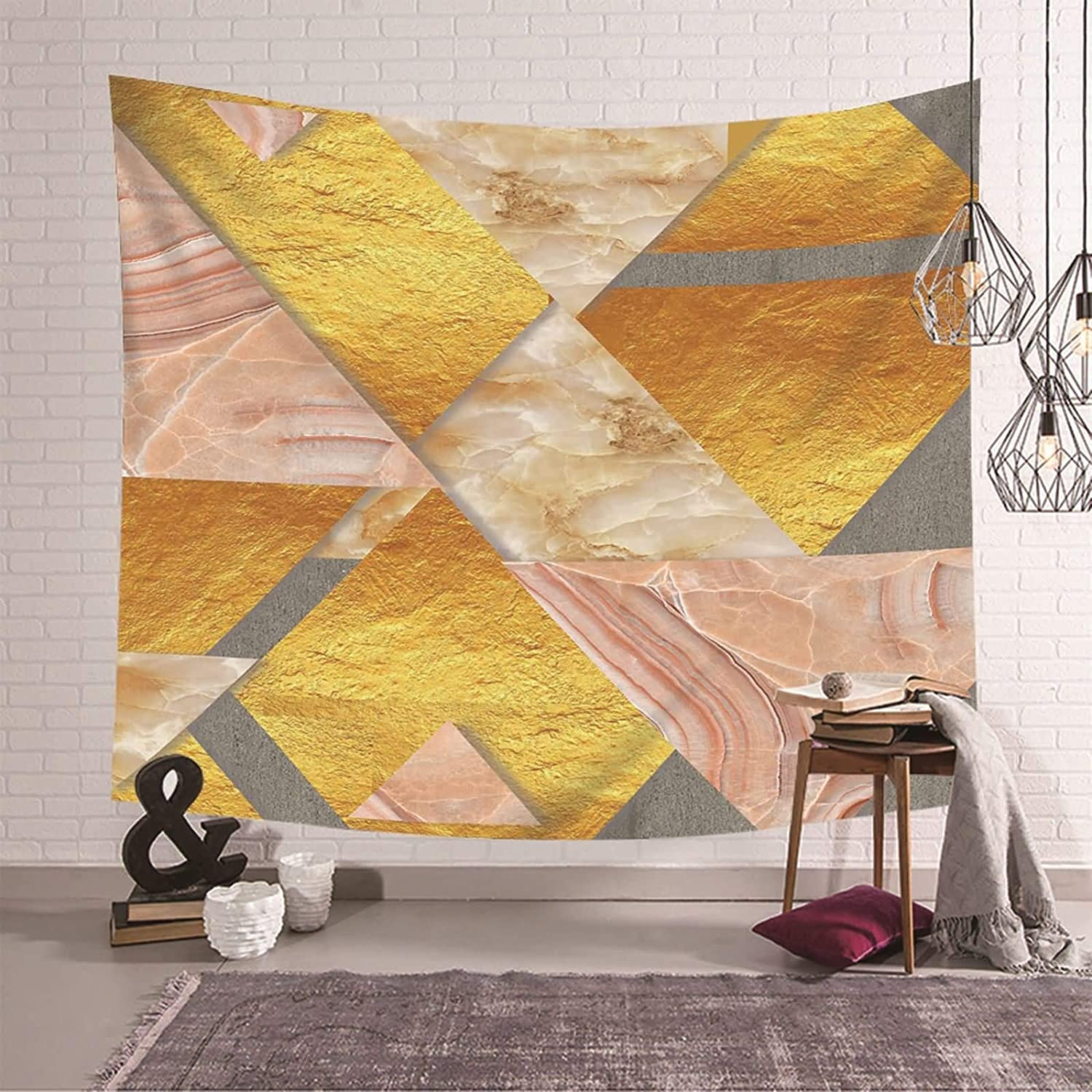Gnzoe Art Tapestry Wall Kansas City Mall Hanging Pink Latest item Textu Polyester Marble Gold