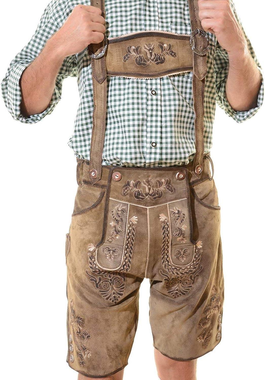 German Bavarian Okoberfest Premium Lederhosen with Belt & Suspenders ELK 34 Antique Brown