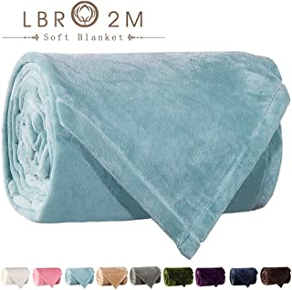 LBRO2M Fleece Bed Blanket Queen Size Super Soft Warm Fuzzy Velvet Plush Throw Lightweight Cozy Couch Blankets ((90x90 Inch) Queen, Turquoise)
