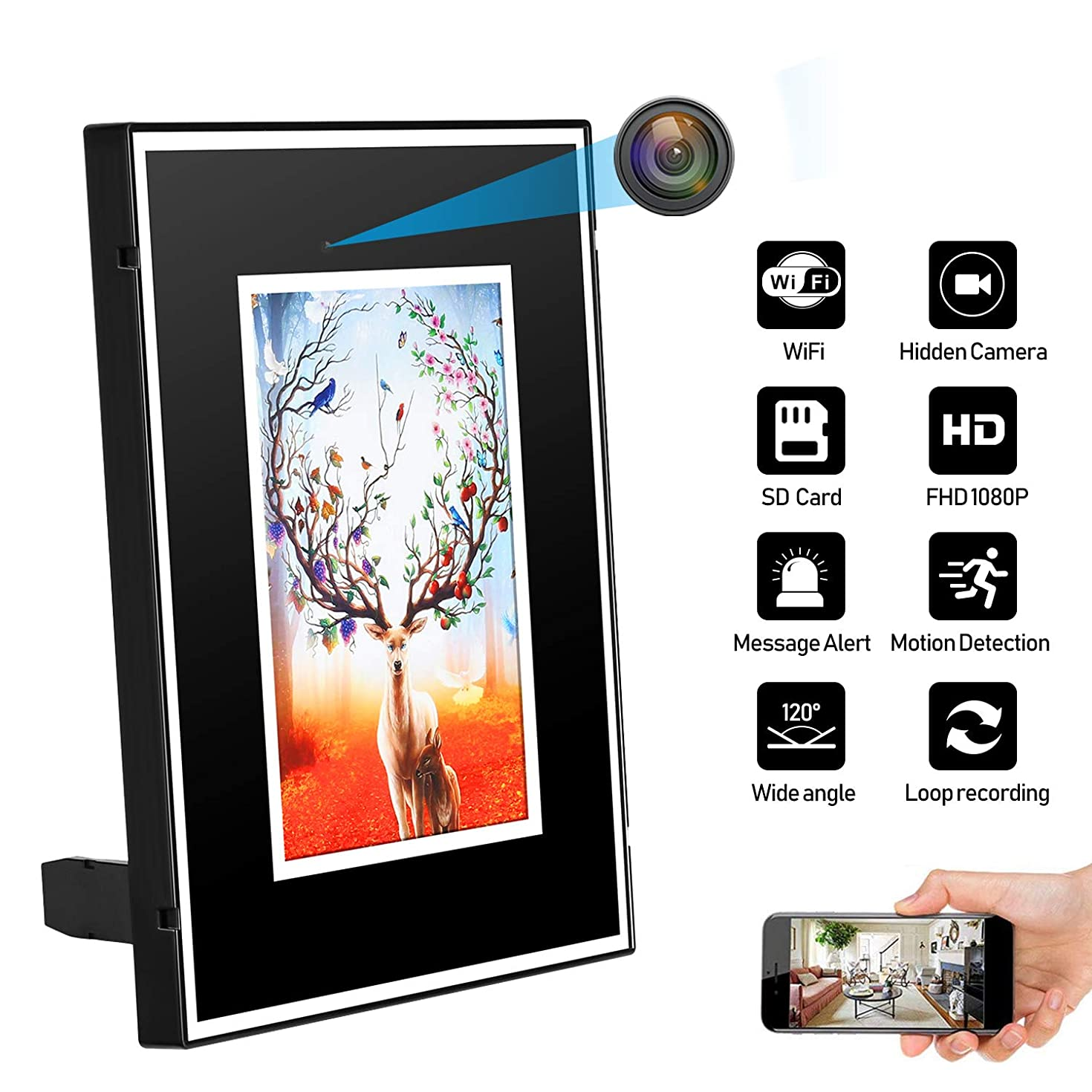 JLRKENG Hidden Spy Camera WiFi Photo Frame Home Security Camera Motion Detection Loop Recording Wireless Nanny Cam with Rechargeable Battery