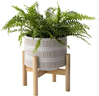 Ceramic Plant Pot with Wood Stand - 7.3 Inch Modern Round Decorative Flower Pot Indoor with Wood Planter Holder, Beige and...