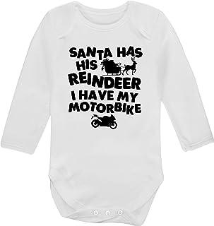 """Flox Creative Baby-Body mit Aufschrift """"Santa has his Reindeer I Have My Motorbike"""", langärmelig"""