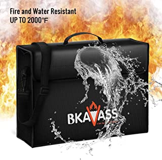 Fireproof Bag (Upgraded), Jumbo Fireproof Document Bag(17 x 12 x 5.9 inches) with Silicone Coated Fiberglass, Waterproof and Fireproof Bag for Documents, Money, Laptops, Passport and Valuables
