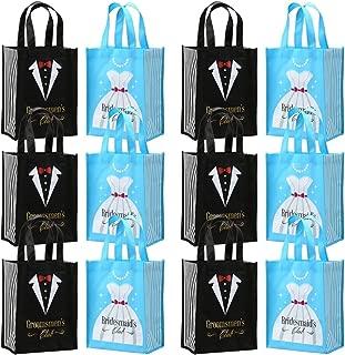 Avery Barn 12 Pc Wedding Favor Bag Set w/ 6 Bridesmaid & 6 Groomsmen | Reusable Tote for Bachelorette Gifts & Bachelor Party Bags Bridal Shower Thank You | Black/Blue Colors - Tuxedo & Dress