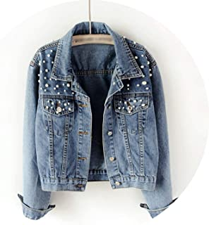 New Spring Lady Jeans Short Jacket Clothing Beading Punk Loose Female Jackets Women Denim Jackets