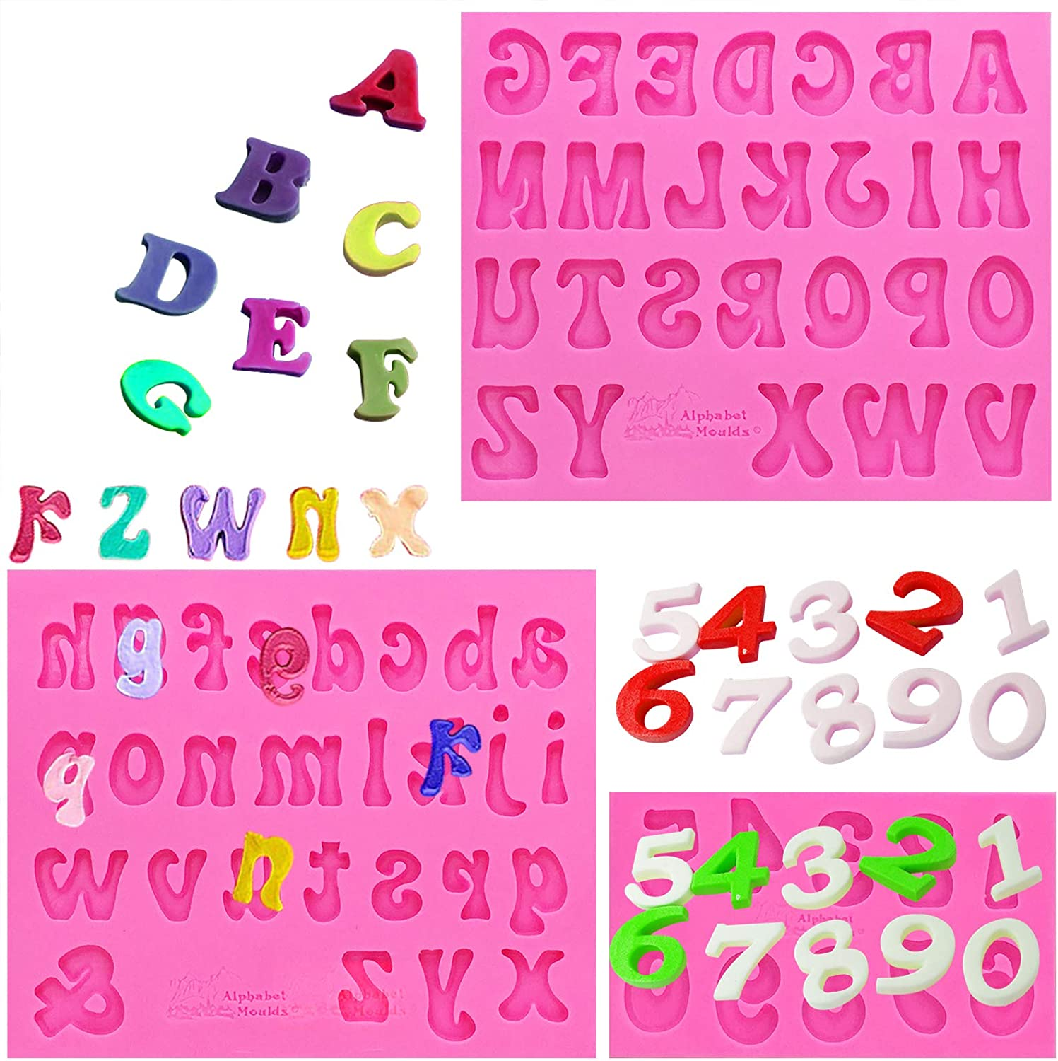 Amurgo 3 Pieces Silicone Letter Mold and Number Candy Molds, Uppercase Lowercase 0-9 Number Handmade Chocolate Molds Happy Birthday Cake Decorations Symbols Silicone Tray
