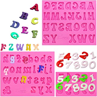 Amurgo 3 Pieces Silicone Letter Mold and Number Candy Molds, Uppercase Lowercase 0-9 Number Handmade Chocolate Molds Happy...
