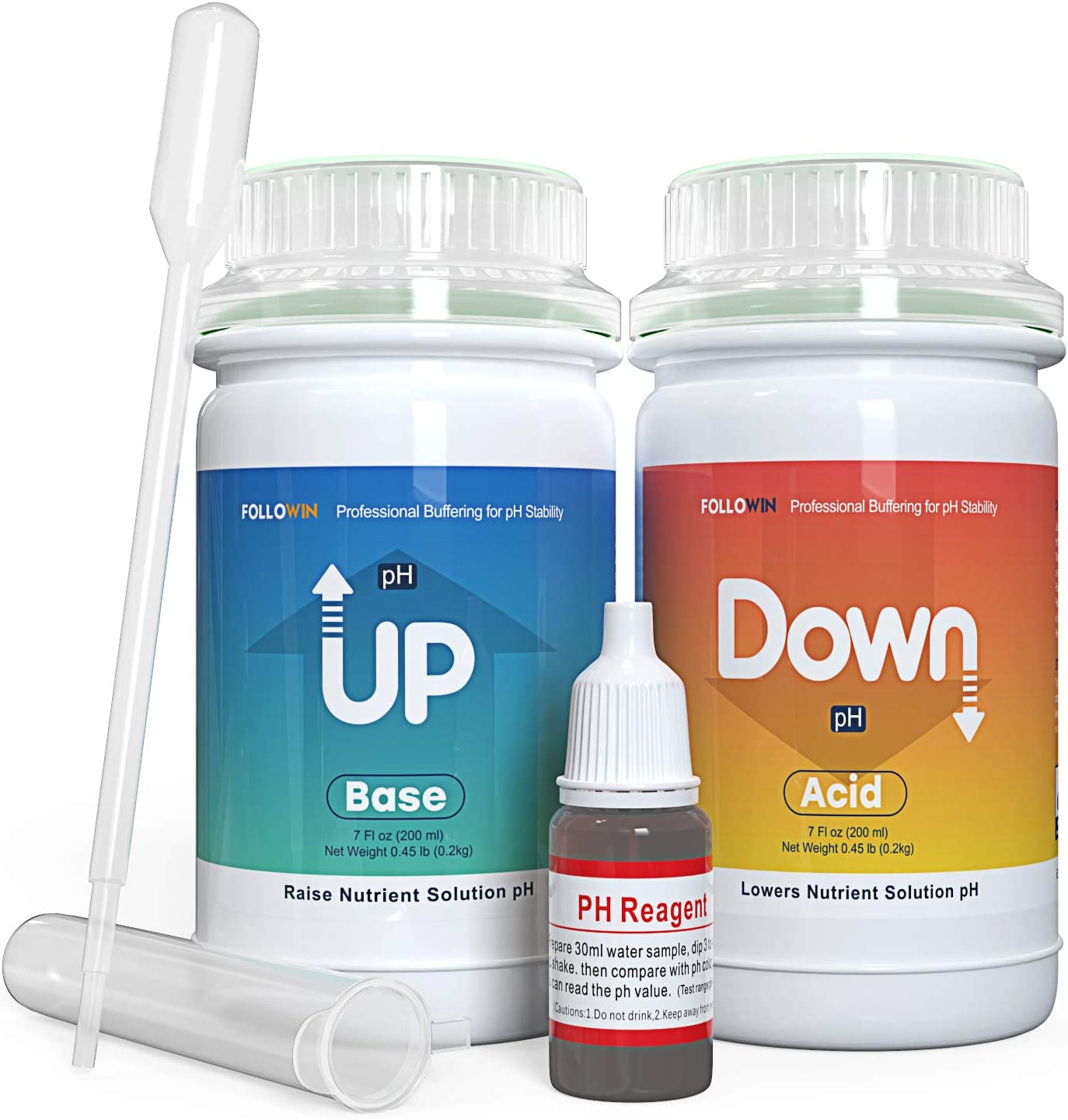 FOLLOWIN Hydroponics pH Up and Down Kit for Soil Plants A Balanced Nutrient Solution(7oz+7oz)