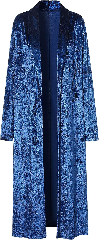 ezShe Women's Velvet Oakland Mall Lapel Collar Cardigan Front Open Ranking TOP5 Trenc Long