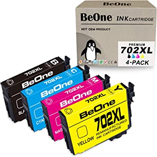 BeOne Remanufactured Ink Cartridge Replacement for Epson 702 XL 702XL T702 T702XL to Use with Workforce Pro WF-3720 WF-3733 WF-3730 (WF3720 WF3733 WF3730) Printer (Black Cyan Magenta Yellow, 4-Pack)