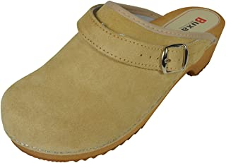 Menswomens Unisex Natural Leatherwooden Clogs With Buckle
