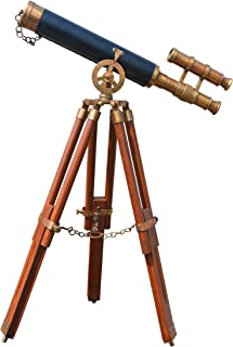 Nauticaz Antique Finish Brass Marine Telescope with Tripod Stand , Brown