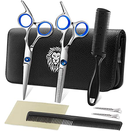 Professional Hair Cutting Scissors Set Hairdressing Scissors Kit, Hair Cutting Scissors, Thinning Shears, Hair Razor Comb, Clips, PLYRFOCE Shears Kit for Home, Salon, Barber