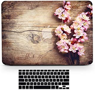 Bizcustom Macbook Wood Grain Pink Cherry Blossom Flower Floral Paint Hard Rubberized Shell Clear Bottom Case Keyboard Cover for Macbook Pro 13 Inch CD-ROM Model A1278, None Retina