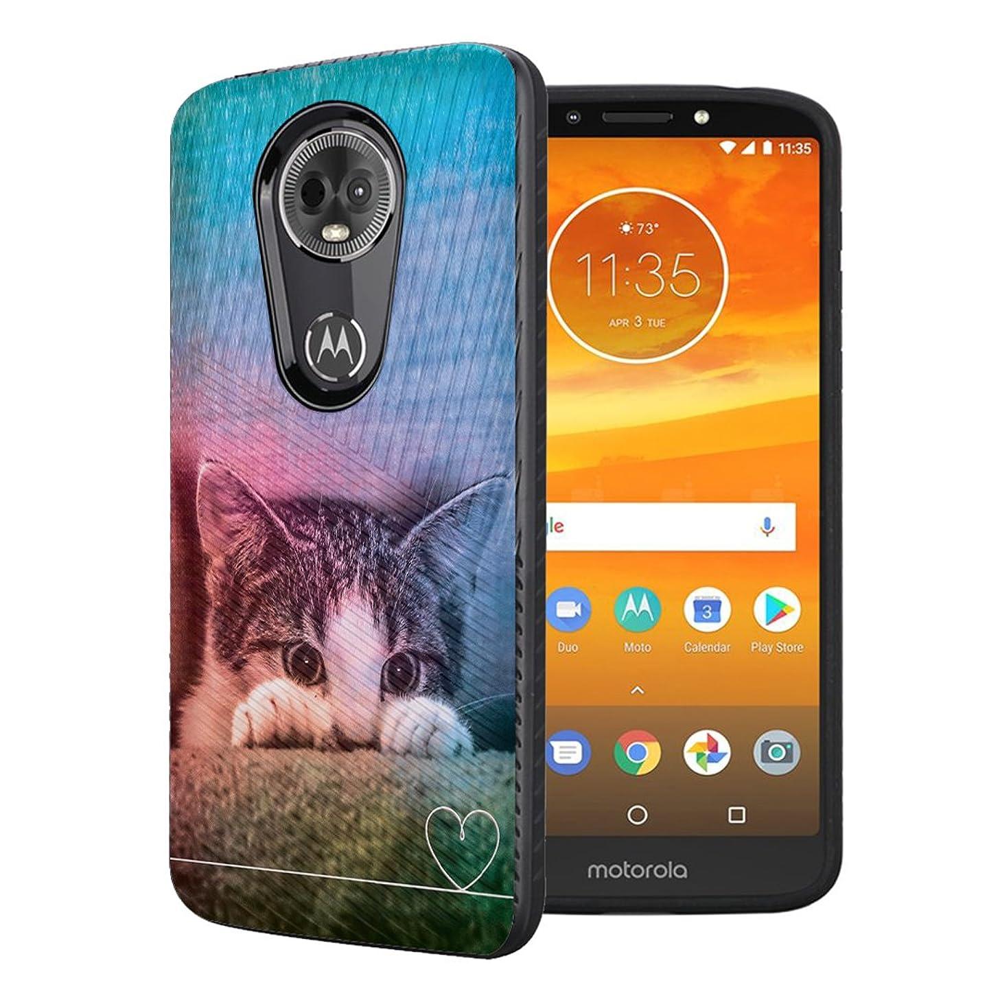 Moriko Case Compatible with Moto G7 Power, Moto G7 Supra [Embossed Diagonal Lines Hybrid Slim Armor Black Case] for Motorola Moto G7 Power - (Kitty Cat)