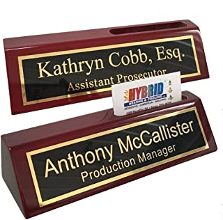 desk name plates with business card holder