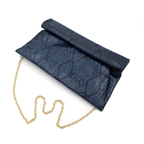 951bed41e959 Premium Snakeskin PU Leather Roll Up Flap Clutch Evening Bag - Diff Colors