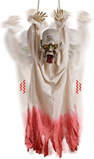Sler Halloween Decoration Hanging Corpse with Motion Sensor, Creepy Sound and Glowing Eyes, Animated Props Halloween Yard Decoration for Haunted House, Party, Indoor & Outdoor, Scary Zombie Decor