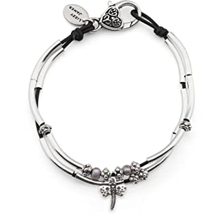 Lucy Anklet with Dragonfly Charm in Natural Black Leather Silver Plate Crescents and Freshwater Pearls