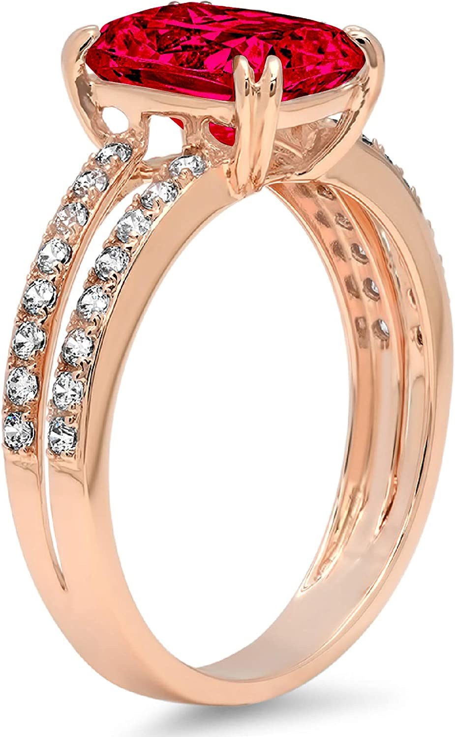 3.44ct Brilliant Cushion Cut Solitaire with accent Flawless Ideal VVS1 Simulated CZ Red Ruby Engagement Promise Statement Anniversary Bridal Wedding Accent Designer Ring 14k Rose Gold