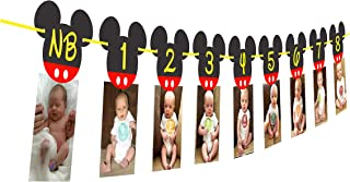 Mickey Mouse 12 Month Photo Banner | Mickey Mouse one Banner | Mickey Mouse Birthday Banner| Mickey Mouse Party Supplies| Mickey Mouse Clubhouse Party| First Birthday Decorations