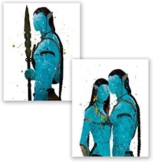 Avatar Poster – Set of 2 Prints - Movie Home Decor – Party Decoration - Jake Sully – Neytiri – Blue Artwork – Bedroom Theme – Film Pictures (8x10)