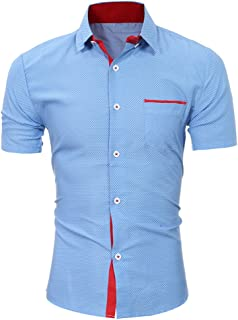 Benficial Men's Slim Fit Cotton Business Casual Shirt Solid Short Sleeve Button Down Dress Shirts Top