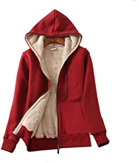 Flygo Women's Winter Thick Fleece Lined Full Zip Hoodie Sweatshirt Jacket Outerwear