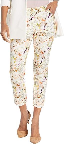 Garden Path Five-Pocket Floral Print Crop Jeans in Natural Multi