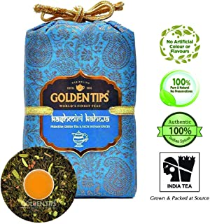 Golden Tips Kashmiri Kahwa Green Tea -Brocade Bag, (50 Cups, 100gm), 100% Natural Whole Leaf Tea | Green Tea for Weight Loss | Anti Oxidant Rich| No Additives