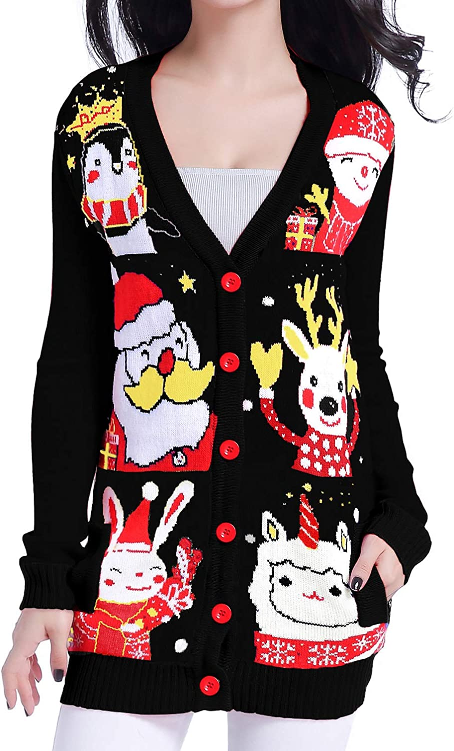 v28 Ugly Christmas Sweater for Women Reindeer Funny Merry Knit Sweaters Cardigan