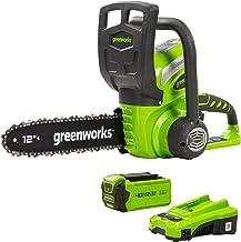 Greenworks Cordless Chainsaw G40CS30K2 (Li-Ion 40 V, chain speed 4.2 m/s, 30 cm Guide Bar Length, 120 ml Oil Tank Capacit...