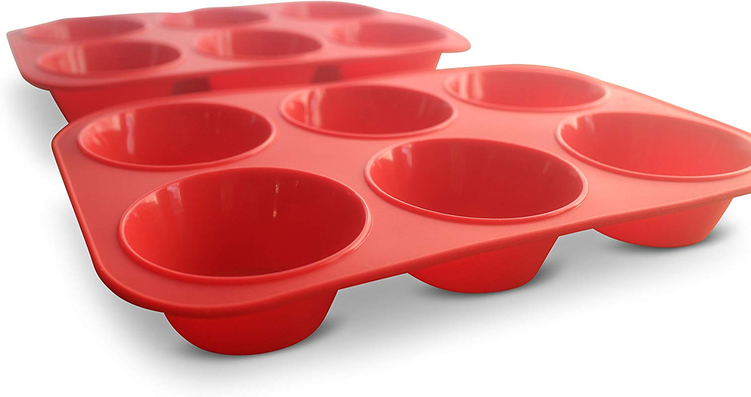 XXL Jumbo Silicone Muffin Pan 3 5 Texas Sized Commercial Muffin Pan Set Of 2 2 Red